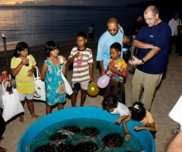 Kids playing with Sea Turtles